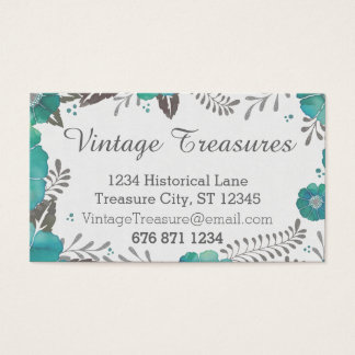 vintage gray and mint rustic floral pattern business card