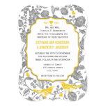 "Vintage Gray and Yellow Floral Love Bird Wedding 5"" X 7"" Invitation Card"