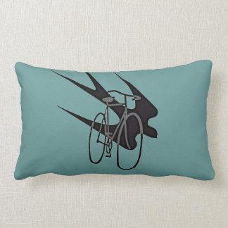 Vintage Gray Bicycle Black Bird Silhouette Pillow