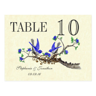 Vintage Gray Bird Royal Blue Blossoms Table Number Postcard