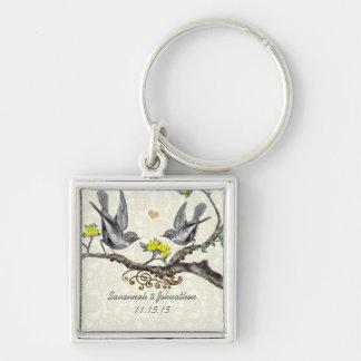 Vintage Gray Birds Plum Flowers Wedding Key Chain