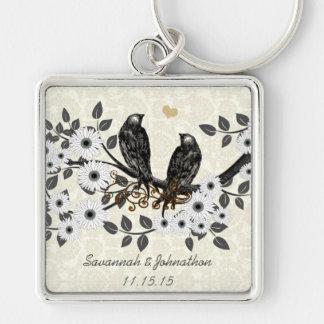Vintage Gray Birds White Daisy Wedding Key Chain