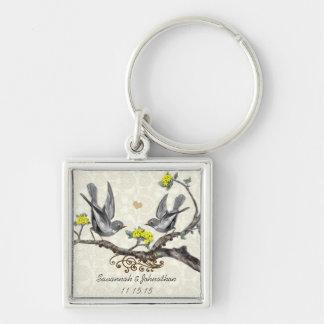 Vintage Gray Birds Yellow Flower Wedding Key Chain