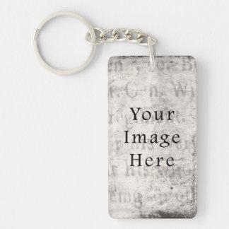 Vintage Gray Black Script Text Parchment Paper Keychain