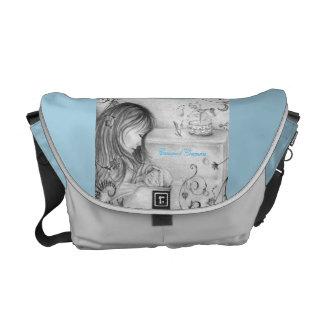 Vintage Gray&Blue Carousel Dreams Messenger Bag