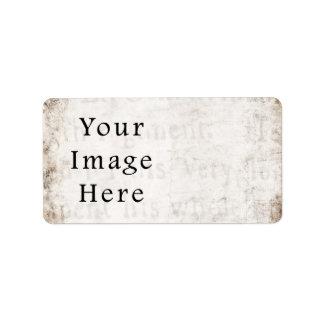 Vintage Gray Brown Tan Script Text Parchment Paper Label