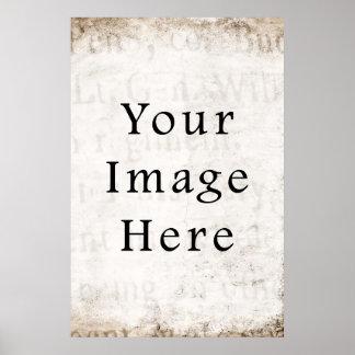 Vintage Gray Brown Tan Script Text Parchment Paper Poster