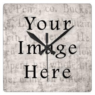 Vintage Gray Brown Tan Script Text Parchment Paper Square Wallclock
