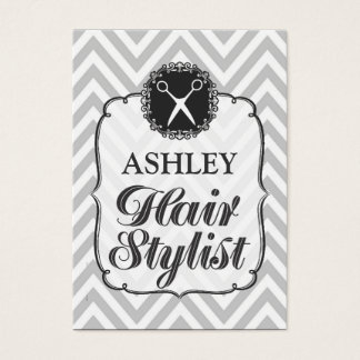 Vintage Gray Chevron Hair Stylist Appointment Card