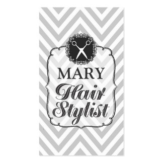 Vintage Gray Chevron Home Travelling Hair Stylist Double-Sided Standard Business Cards (Pack Of 100)