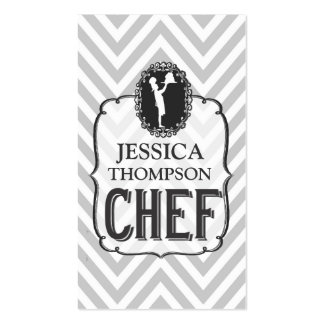 Vintage Gray Chevron Professional Cook Chef Card Double-Sided Standard Business Cards (Pack Of 100)