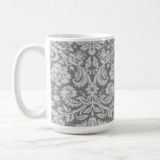 Vintage Gray Damask Classic White Coffee Mug