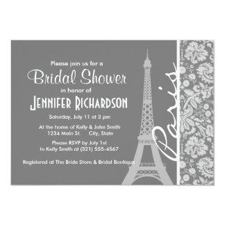 Vintage Gray Damask Paris Card