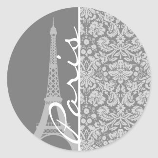 Vintage Gray Damask Paris Classic Round Sticker