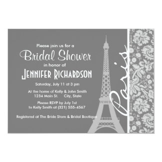 "Vintage Gray Damask Paris 5"" X 7"" Invitation Card"