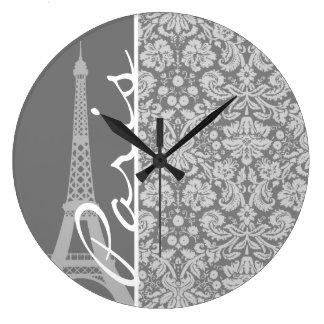 Vintage Gray Damask Paris Large Clock
