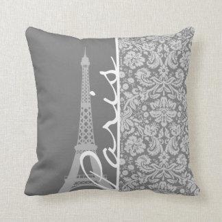 Vintage Gray Damask Paris Throw Pillow