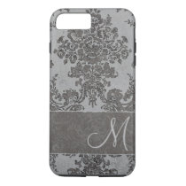 Vintage gray Damask Pattern with Monogram iPhone 7 Plus Case