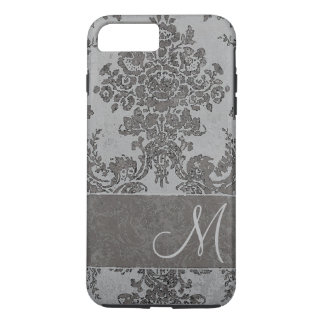 Vintage gray Damask Pattern with Monogram iPhone 7 Plus Case