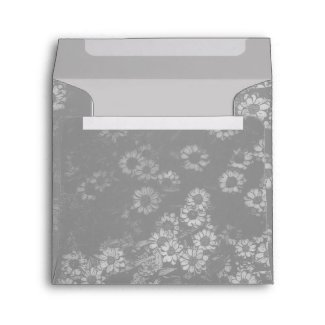 Vintage Gray Flowers Square Envelope envelope