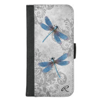 Vintage Gray Grunge Damask and Dragonflies iPhone 8/7 Plus Wallet Case