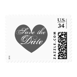 Vintage gray heart save the date wedding stamps