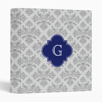 Vintage Gray on Gray Damask #3 Monogram Binder