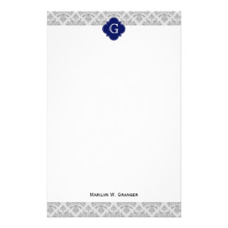 Vintage Gray on Gray Damask #3 Monogram Stationery