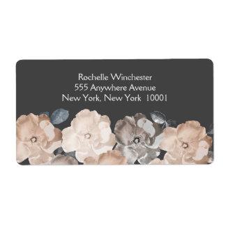 Vintage Gray Roses Wedding Address Labels
