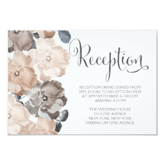 Vintage Gray Roses Wedding Reception Cards
