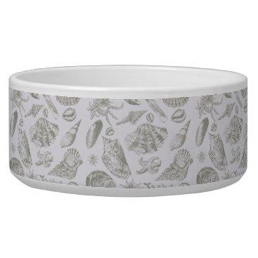 Beach Themed Vintage Gray Seashell Art Pattern Print Design Bowl