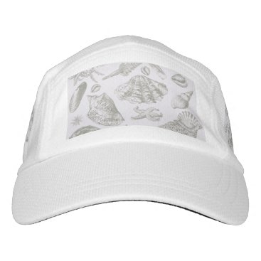 Beach Themed Vintage Gray Seashell Art Pattern Print Design Hat