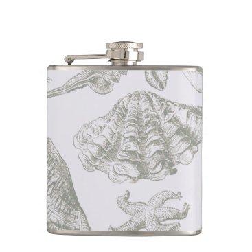 Beach Themed Vintage Gray Seashell Art Pattern Print Design Hip Flask