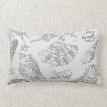 Beach Themed Vintage Gray Seashell Art Pattern Print Design Lumbar Pillow
