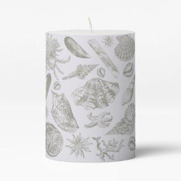 Beach Themed Vintage Gray Seashell Art Pattern Print Design Pillar Candle