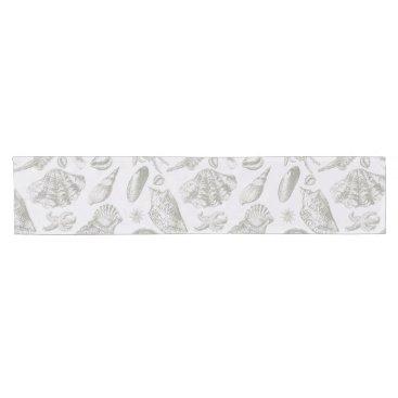 Beach Themed Vintage Gray Seashell Art Pattern Print Design Short Table Runner