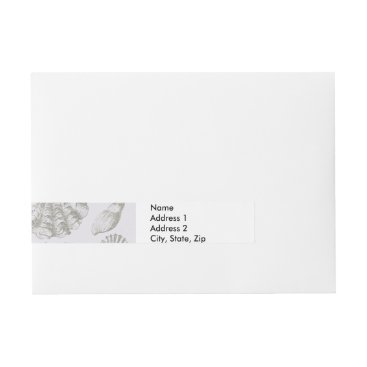 Beach Themed Vintage Gray Seashell Art Pattern Print Design Wrap Around Address Label
