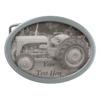 Vintage gray tractor retro photograph belt buckle