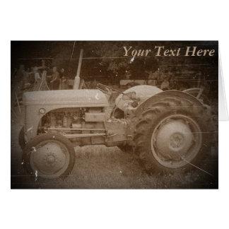 Vintage Gray tractor retro photograph Card
