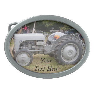 Vintage gray tractor retro photograph oval belt buckle