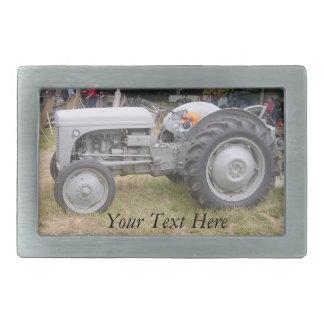 Vintage gray tractor retro photograph rectangular belt buckle