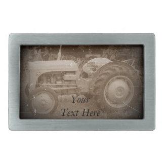 Vintage gray tractor retro photograph sepia belt buckle