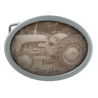 Vintage gray tractor retro photograph sepia oval belt buckle