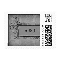 vintage gray wedding postage