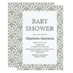 Vintage Gray & White Art Deco Fans Baby Shower Invitation
