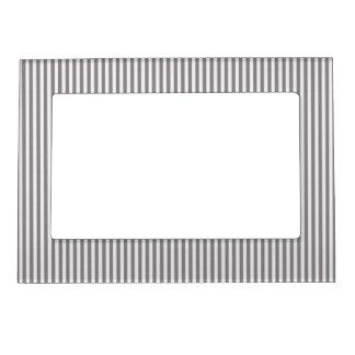 Vintage Gray White Chic Stripes Pattern Photo Frame Magnets