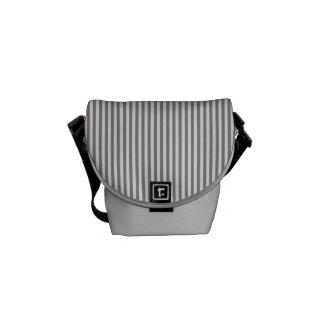 Vintage Gray White Chic Stripes Pattern Messenger Bag
