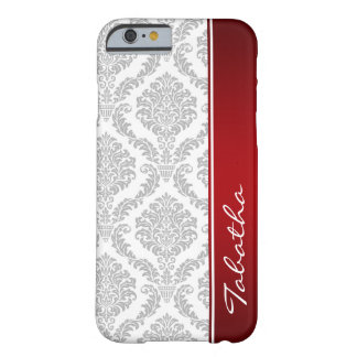 Vintage Gray White Damask Red Monogram iPhone 6 ca Barely There iPhone 6 Case