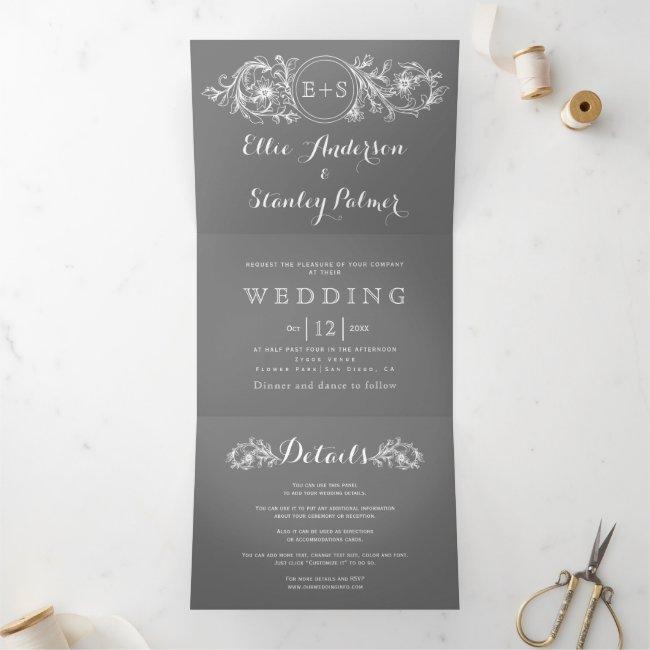 Vintage gray, white floral frame, initials wedding Tri-Fold invitation