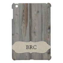 Vintage Gray Wood and Linen Personalized iPad Mini Cover